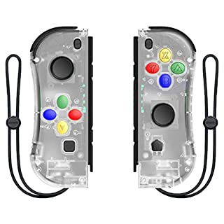 DELAM Joy Con Controller Replacement for Nintendo Switch/Switch lite, L/R Joycon Pad with Wrist Strap, Alternatives for Nintendo Switch Controllers, Wired/Wireless Switch Remote (Transparent)