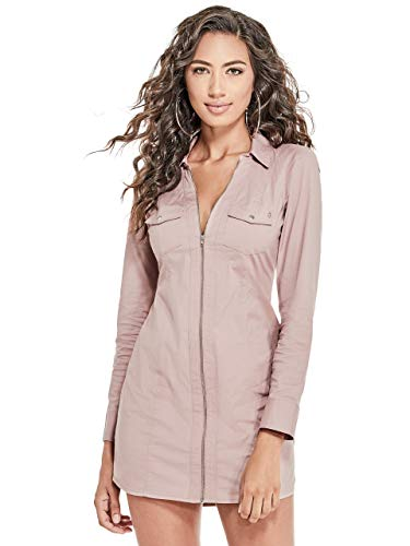G by GUESS Women's Janina Poplin Zip-Up Collared Long Sleeve Dress from G by GUESS