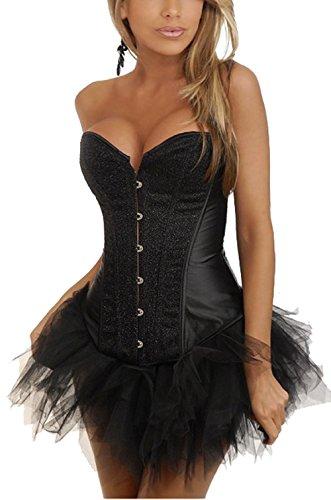 ZAMME Mujer de lana Burlesque Overbust prendas de vestir Corset Costume + Negro TuTu falda Negro