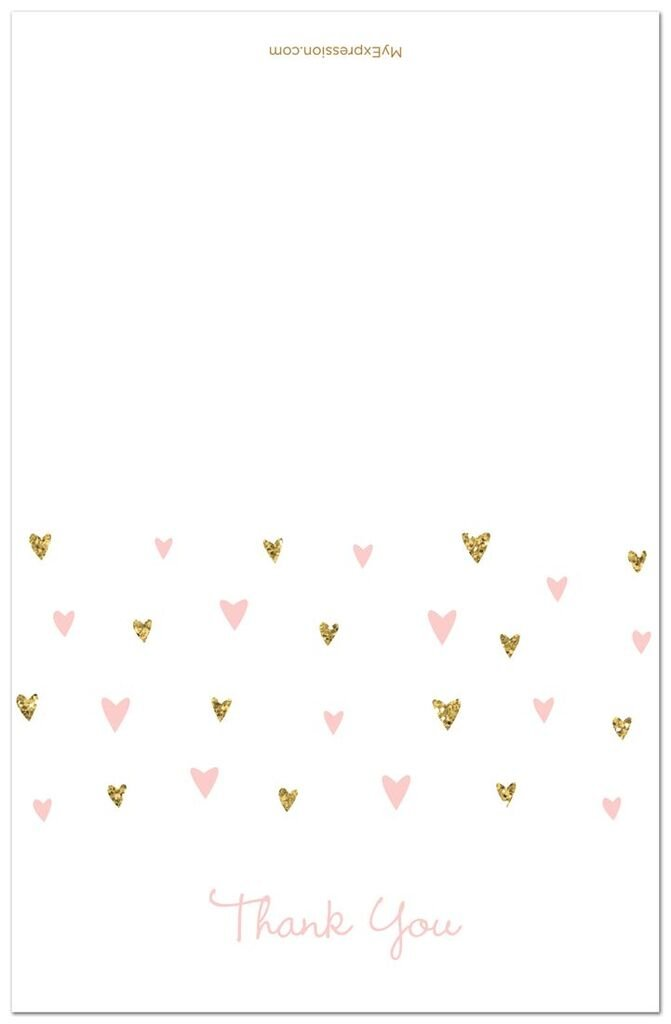 MyExpression.com 50 Cnt Pink Faux Glitter Hearts Baby Shower Thank You Cards by MyExpression.com (Image #1)