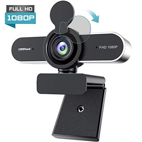 🥇 Campark Webcam Full HD 1080P PC Cámara web de conferencia con micrófono cubierta de privacidad Plug and Play USB Streaming Webcam lente gran angular flexible Clip para videollamadas