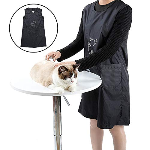 Dora Bridal Pets Grooming Waterproof Apron Anti-Static Pet Dog Cat Grooming Sleeveless Breathable Apron Professional Smock with Two Pockets (Breathable Smock)