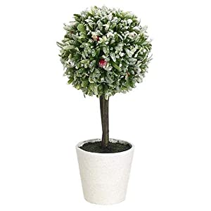 "Afloral Fake Snowy Rosemary & Red Berry Potted Topiary Ball - 12.5"" Tall 36"