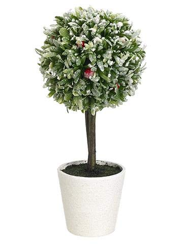 Afloral-Fake-Snowy-Rosemary-Red-Berry-Potted-Topiary-Ball-125-Tall