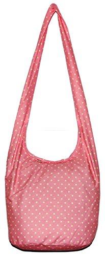 Polka Dot Bohemian Hobo Boho Hippie Hipster Crossbody Bag Purse 35 Inch (Pink)