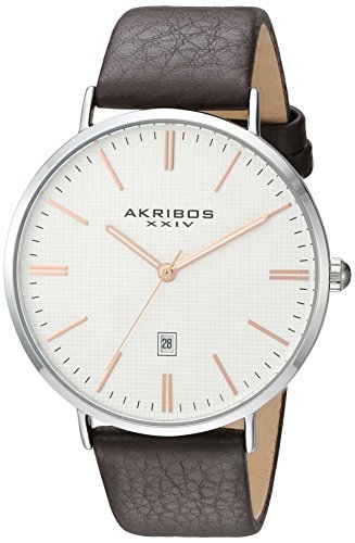 Akribos XXIV Men's Silver-Tone Case with Rose-Tone Accented Textured White Dial on Brown Genuine Leather Strap Watch AK935SSRG