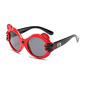 modesoda Cateye Rubber Polarized Lenses Kids Sunglasses Age for 3-6 Years with Cartoon Pattern