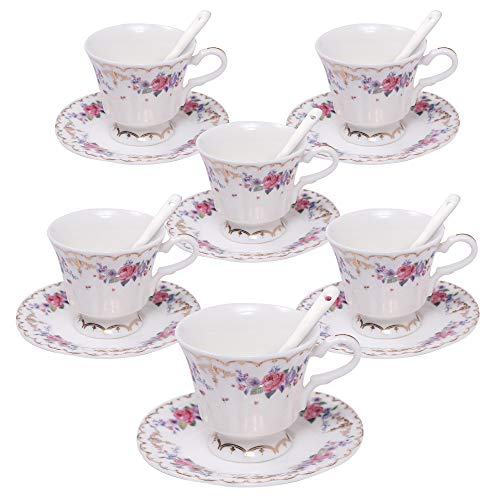 ufengke 4oz Flora Coffee Cup Set,Small Capacity Porcelain Coffee Tea Sets,Set of 6 Ceramic Tea Cup and Saucer-Chinese Rose Pattern -