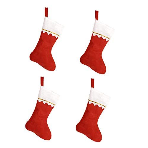 HKYUSHINE Holiday Time Red Felt Christmas Stocking 14-inch(4PACK)]()