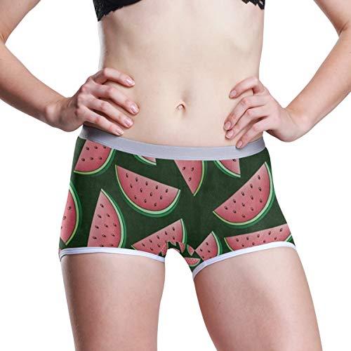 (SHNUFHBD Women's Regular & Plus Size Underwear,Watermelon Fruit Green Stretch Boxer Briefs Boyshort Panties XXL)