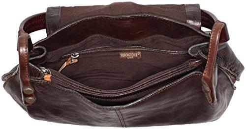 Taschendieb - Td0121db, Bolsos maletín Mujer, Braun (Dunkelbraun), 11x25x28 cm (B x H T)