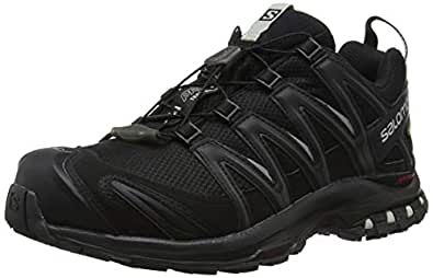 Salomon Women's XA Pro 3D Gore-Tex Trail Running Shoe, Black/Black/Mineral Grey, 10 US