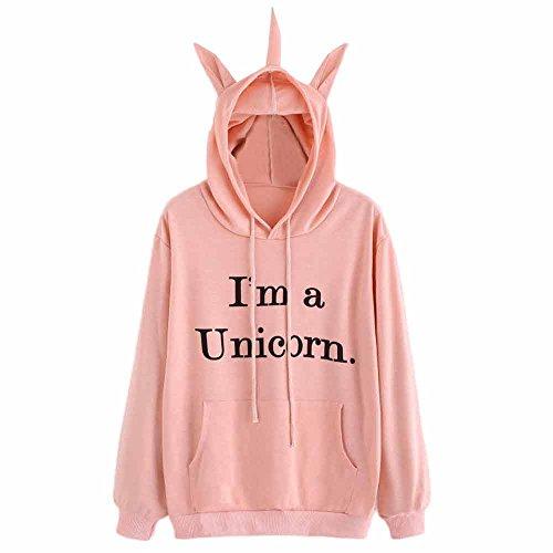 SFE-Women Apparel Hot Sale I'm a Unicorn Women Hoodie Sweatshirt Pink Winter Warm Hooded Pullover Sportswear (Pink, (Big Time Pullover Hoody Sweatshirt)