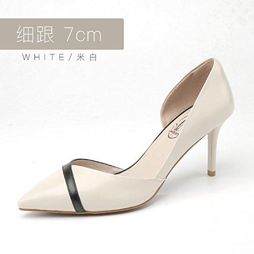 Beibei 7cm Jqdyl Talons Hauts Nouveaux Talons Hauts Femme Fine avec des Chaussures Simples Pointues Chaussures de Mariage Chaussures