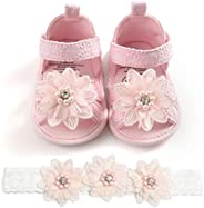Kuner Baby Girls Glitter Sandals Soft Soled with Bow Ribbon Toddler Shoes for Girls 0-18 Months