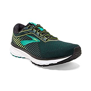 Brooks Mens Ghost 12 Running Shoe - Black/Lime/Blue Grass - B - 12.5