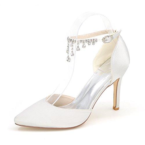 di Alti della punta Le High fibbia nozze Donna Qingchunhuangtang banchetto personalità perforazione Bianco scarpe Heel di Calzature parte Tacchi acqua ZwXfq7