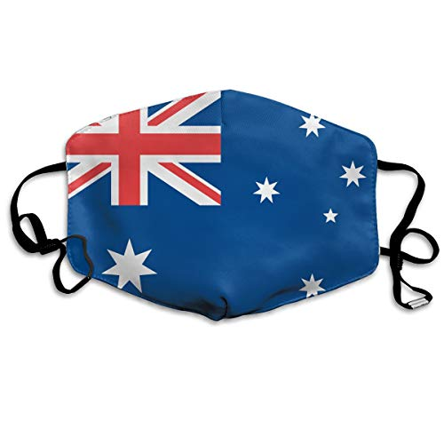 Australia Flag Mouth Mask Washeable Reusable Dust Half Face Mouth Mask for Men Women Dustproof with Adjustable Ear Loops -