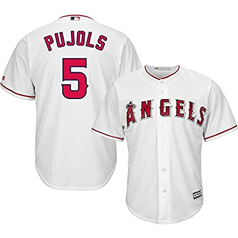 11efeb484f7 Amazon.com   Majestic Albert Pujols Los Angeles Angels of Anaheim  5 MLB  Youth Cool Base Home Jersey (Youth Small 8)   Clothing