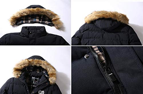 FGYYG Warm Long Casual Blue New Detachable Navy Thicken Jacket Zipper Fashion Winter Coat Sleeve Outdoor Classic Hooded Men's Parka HqpXrwBHx