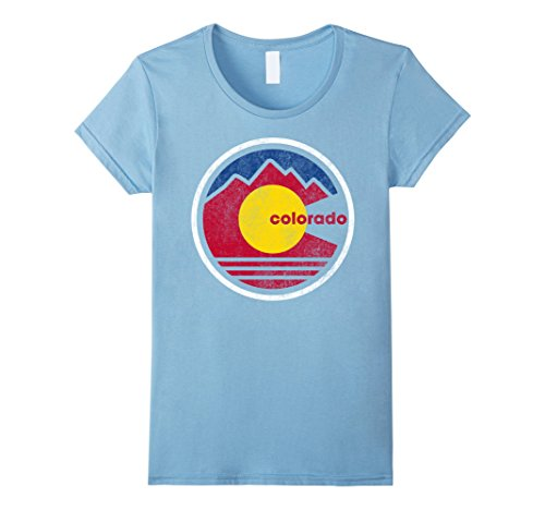 Womens Vintage Colorado Retro Destination Mountain Graphic T Shirt Xl Baby Blue