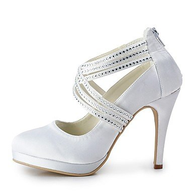 Spring Rhinestone Shoes Best Pump Summer Toe White Wedding Stiletto Basic for Wedding Silk Party Heel Women's White Evening 4U Shoes Closed 66EfI