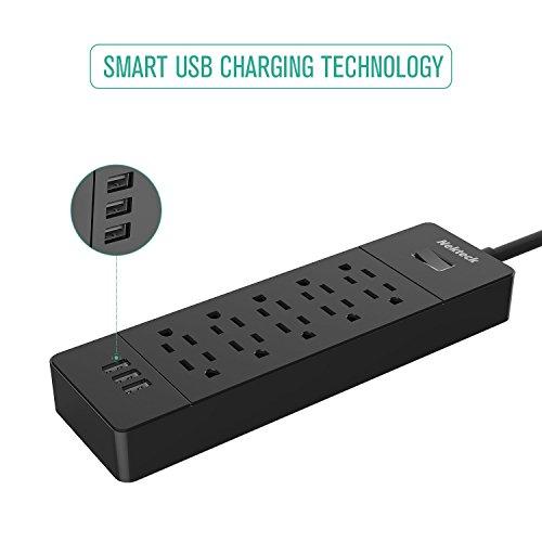 Nekteck Strip/Surge Plug with 10 Outlets, USB Samsung HTC M9
