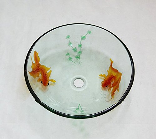 GOWE Goldfish Artistic Victory Vessel Wash Basin Tempered Glass Sink Bathroom Basin With Brass 0