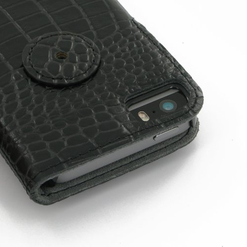 Apple iPhone 5s Ultra Thin Leather Case / Cover (Handmade Genuine Leather) - Book Type (Black/Crocodile Pattern) by Pdair