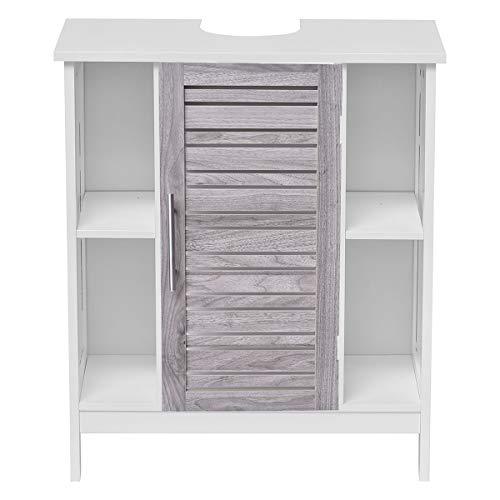 EVIDECO 9900313-9951254 Custom DIY Bathroom Non Pedestal Under Sink Cabinet-Chrome Handle, White,Washed Grey