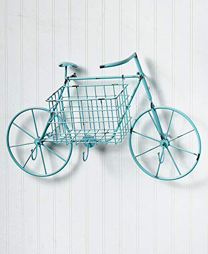 The Lakeside Collection Bicycle Mail Basket - Blue (Bicycle Wall Basket Metal)