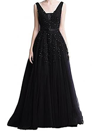 RetailProm Women's V Neck Sleeveless Evening Party Gown Tulle Appliques Long Prom Dress Black 18W