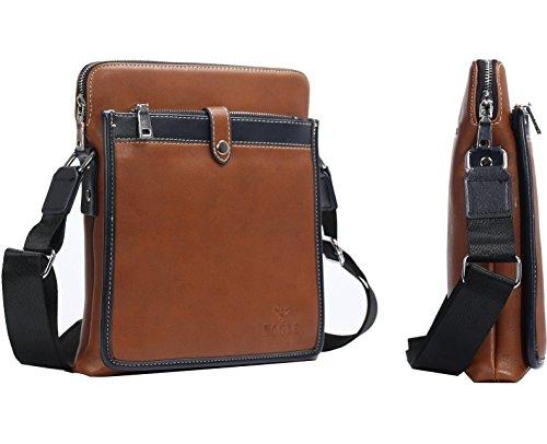 Eagle - Bolso al hombro para hombre marrón 6671 Model 666 Camel Brown Model