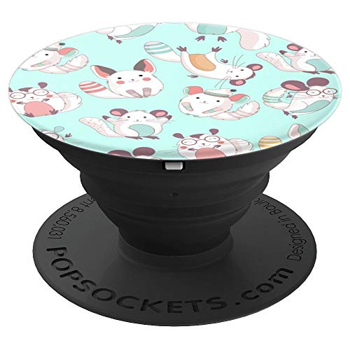 Anime Styled Chinchilla Cats Cute Patterned Background - PopSockets Grip and Stand for Phones and Tablets