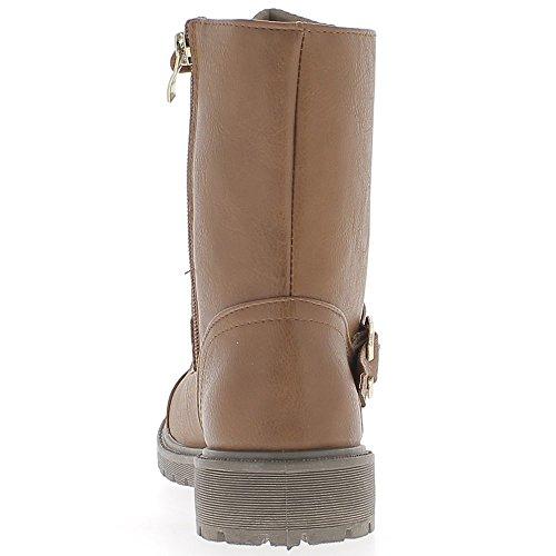 Botas de mujer camel suela de cordón de 1,5 cm y tacón de 3cm