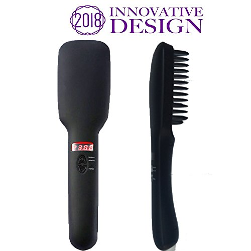 Zinnor Hair Straightening Brush 2 in 1 Electric Ionic Straightener Brush Ceramic Straightening Brush Negative Ions Fast Heating with Screen for Thick Long Medium Short Silky Frizz Free Hair Black