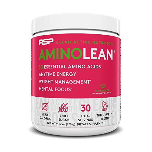RSP AminoLean - All-in-One Pre Workout, Amino Energy, Weight Management Supplement with Amino Acids, Complete Preworkout Energy for Men & Women, Watermelon, 30 (Packaging May Vary) ()