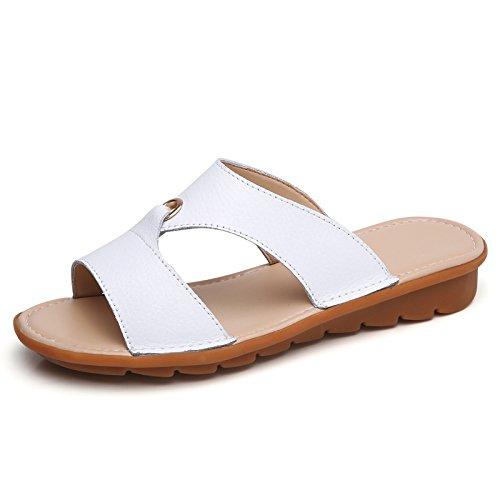 AJUNR Moda/elegante/Transpirable/Sandalias Zapatillas salvaje antideslizante y con un simple calzado de playa fondo plano de 2 cm blanco 36 39