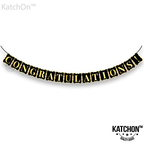 Congratulations Banner, Graduation Decorations – No DIY Required, Graduation Party Supplies 2018 | Graduations Banner Sign | Great for Achievement Party, Bridal Shower | Gold and Black | 8x6 Inch