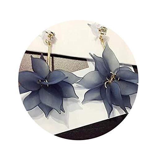Fashion Rhinestone Earrings Exaggerated Temperament Brinco Acrylic Flowers Leaf Long Tassel Ear