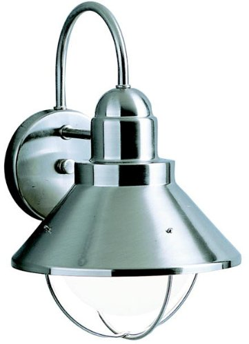 Kichler 9022NI Seaside Outdoor Wall 1-Light, Brushed Nickel ()