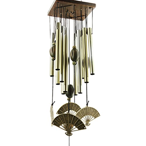Holiberty Solid Wood Bronze Copper Mobile Wind Chimes Bells Metal 8 Tubes Rust-proof 60cm Hanging Windchimes Collection Home Garden Indoor Decor Ornament Gift - Chinese Fans (Ornaments Meaning Chinese)
