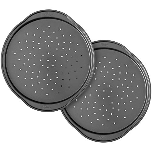 Wilton Perfect Results Non-Stick 14-Inch Pizza Crisper Pans with Holes, Set of 2