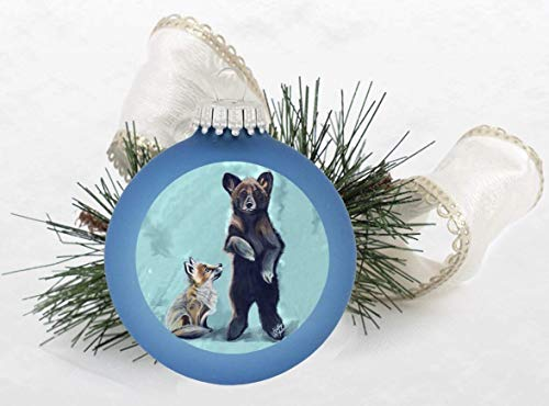 Baby Fox and Baby Bear Christmas Tree Ornament Alpine Blue
