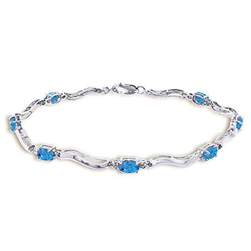 Galaxy Gold 2.16 Carat 14K Solid White Gold Tennis Bracelet Diamond Blue Topaz (Bracelet Tennis Pear)