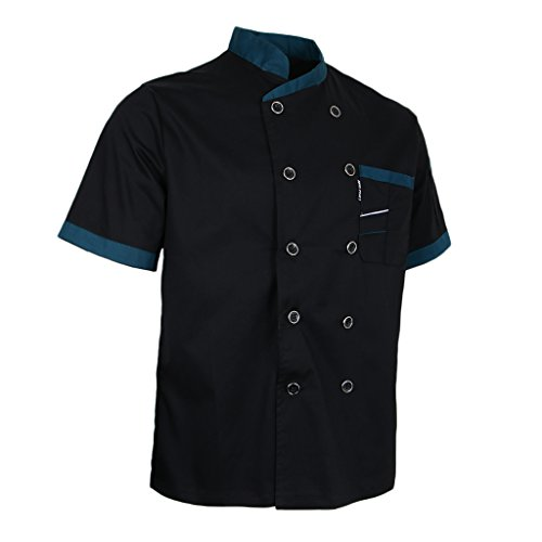 Prettyia Unisex Summer Breathable Executive Chef Jacket Coat Kitchen Bakery Uniform Short Sleeves 5 Colors Chef Apparel M-2XL - Black, ()