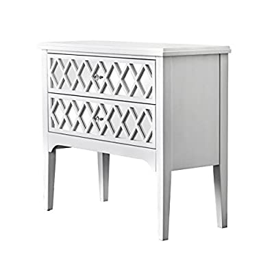 HOMES: Inside + Out IDF-AC505 Reyna Hallway Cabinet, White - Contemporary style Unique geometric design with Acrylic inlay Spacious drawers with Crystal like Acrylic pulls - sideboards-buffets, kitchen-dining-room-furniture, kitchen-dining-room - 419CqHlJjWL. SS400  -