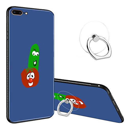 iPhone 7/8 Plus Cases Tempered Glass Pattern Painted Cucumber and Tomato Friends Veggie Tales Soft TPU Bumper Frame Case for Apple iPhone 7/8 Plus -