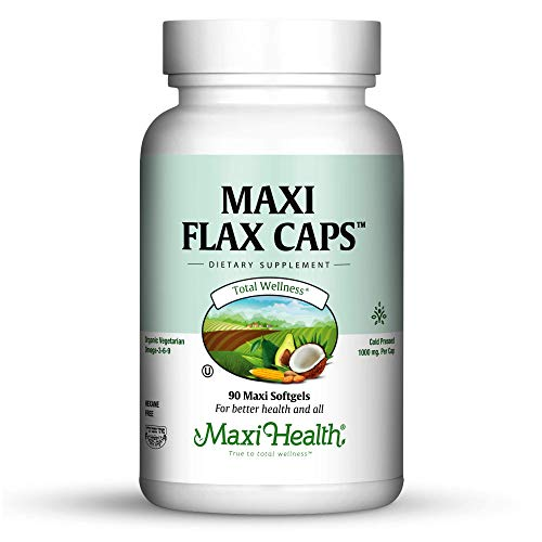 Kosher Flaxseed Oil Softgels by Maxi Health | 100% Organic/Vegetarian Cold Pressed - NO FISHY TASTE - Packed with Omega 3-6-9 - Helps Support Immune System | Rich Source of (Kosher Flax Seed Oil)