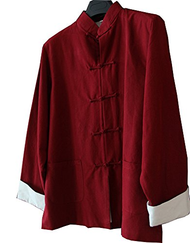 (ZooBoo Mens Martial Arts Kung Fu Jacket Tang Suit (XXL, Red))